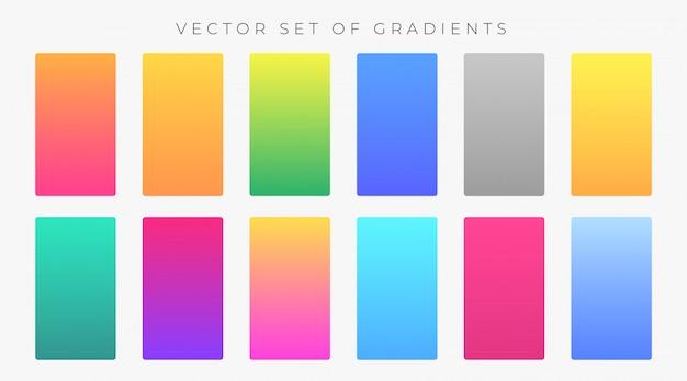 Wibrujący zestaw kolorowych próbek gradientów Darmowych Wektorów