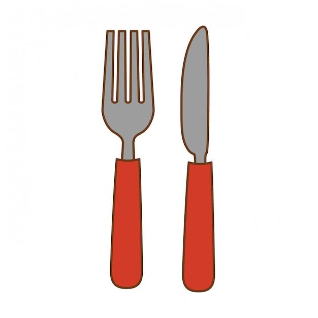 Widelec i nóż Premium Wektorów
