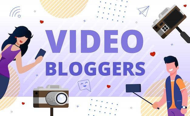 Wideo Blogerzy Społeczność Promocja Mieszkanie Premium Wektorów