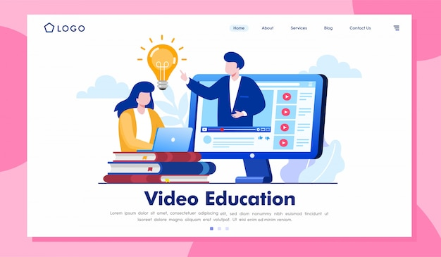 Wideo edukaci lądowania strony strony internetowej ilustraci wektor Premium Wektorów