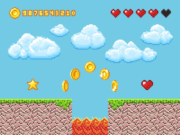 Wideo piksla gry krajobraz z złocistymi monetami, biel chmurami i czerwonymi serce wektoru ilustracją Premium Wektorów