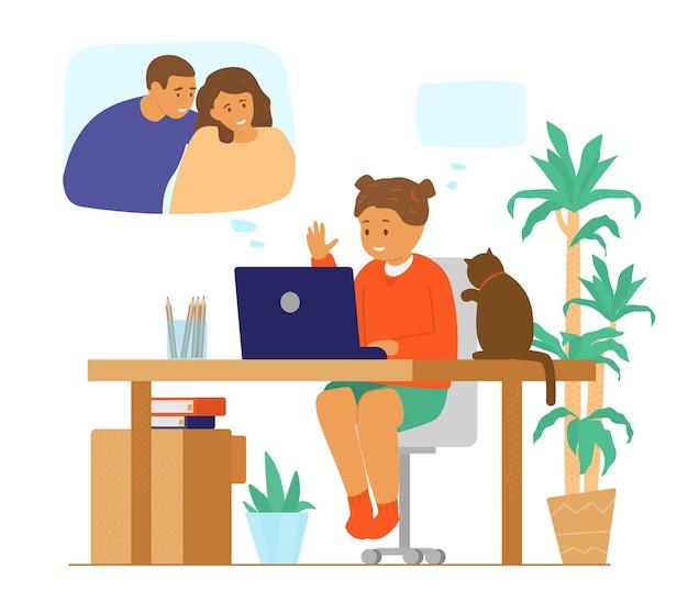 Wideokonferencja Rodzinna. Komunikacja Przez Internet. Dziewczyna Rozmawia Z Rodzicami Przez Rozmowę Wideo. Premium Wektorów