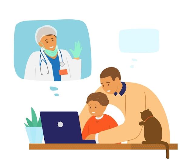 Wideokonferencja Rodzinna. Tata Z Dzieckiem Rozmawia Przez Czat Wideo Ze Swoją żoną, Która Jest Lekarzem W Szpitalu Walczącym Z Epidemią Koronawirusa. Premium Wektorów