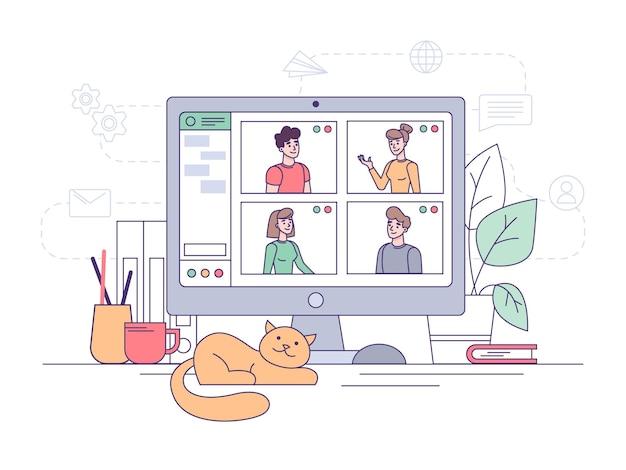 Wideokonferencja, Rozmowa Biznesowa Online W Biurze Domowym I Komunikacja W Pracy Zespołowej Premium Wektorów