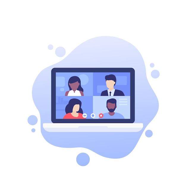 Wideokonferencja, Spotkanie Online, Grupowa Rozmowa Wideo Premium Wektorów