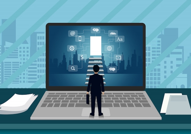 Widok Ekranu Laptopa Biznesmena Stojącego Przed Ekranem. Premium Wektorów