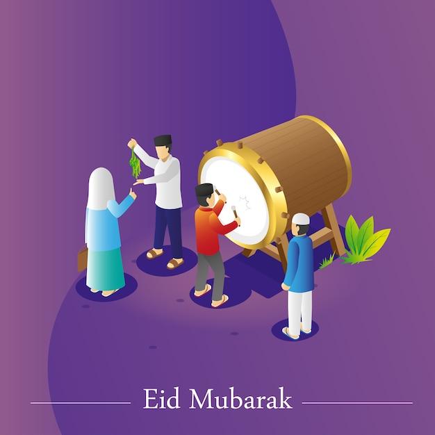 Widok Izometryczny Eid Greetings Premium Wektorów