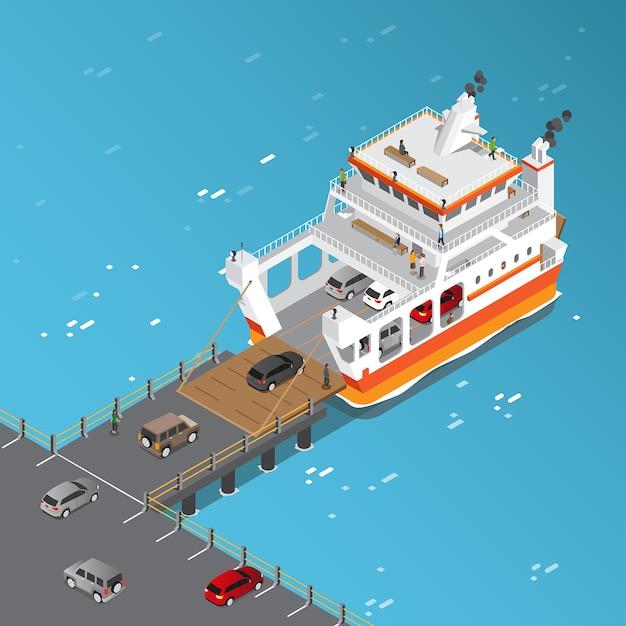 Widok izometryczny pojazdów załadowczych ferry ship Premium Wektorów