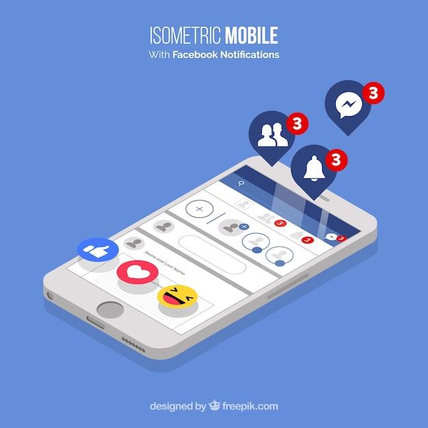 Widok Izometryczny Telefonu Komórkowego Z Powiadomieniami Na Facebooku Darmowych Wektorów