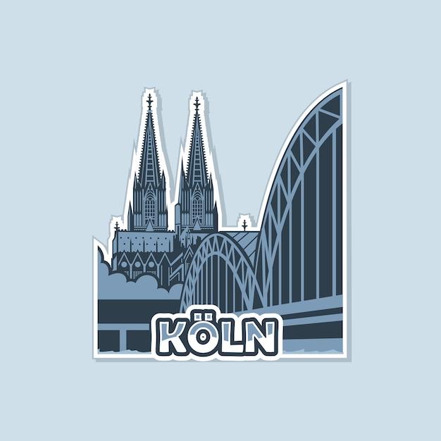 Widok Katedry Z Mostu W Kolonii Jest Monochromatyczny. Premium Wektorów