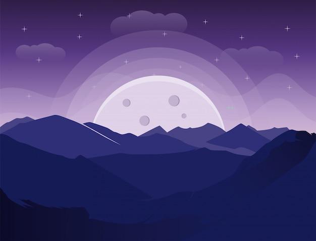 Widok Na Góry W Nocy Z Księżyca Sylwetka Premium Wektorów