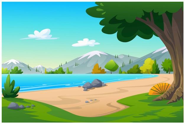 Widok Na Plażę Z Zielenią Premium Wektorów