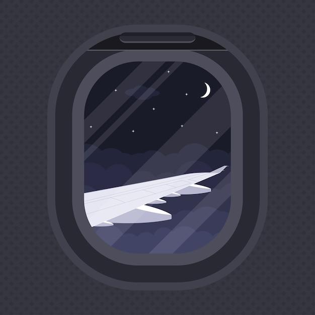 Widok Skrzydła Samolotu Przez Iluminator, Ilustracja Stylów, Podróże, Koncepcja Dookoła świata Premium Wektorów