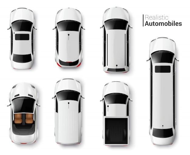 Widok Z Góry Białe Samochody Realistyczny Zestaw Na Białym Tle Darmowych Wektorów