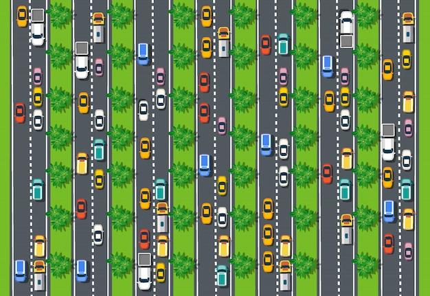 Widok Z Góry Drogi Z Autostradami Wiele Różnych Pojazdów Premium Wektorów