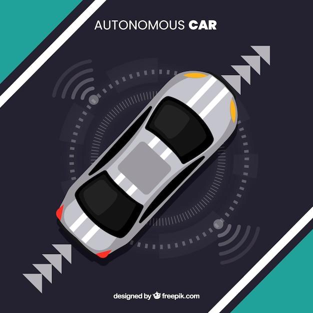 Widok Z Góry Futurystyczny Autonomiczny Samochód Z Płaska Konstrukcja Darmowych Wektorów