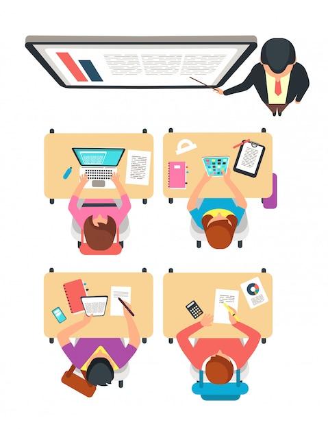 Widok Z Góry Klasy. Ucznie I Nauczyciel Uczy Się W Szkoły Wyższa Sala Lekcyjnej Z Blackboard Wektoru Ilustracją Premium Wektorów