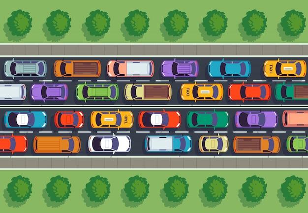 Widok Z Góry Korków. Wiele Samochodów Na Autostradzie, Różne Pojazdy Z Góry. Premium Wektorów