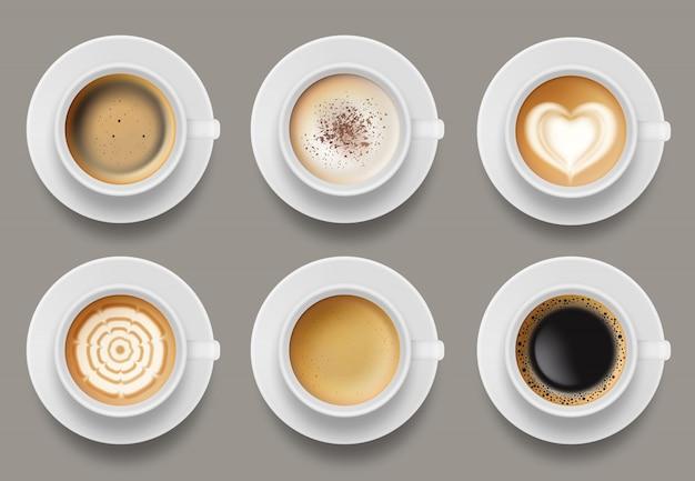 Widok Z Góry Kubek Kawy. Cappuccino Espresso Latte Mleko Brązowy Kawa Wektor Realistyczne Szablon Premium Wektorów