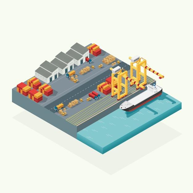 Widok Z Góry Logistyka ładunków I Kontenerowiec Transportowy Z Działającym żurawiem Import Eksportowym Przemysłem Transportowym W Stoczni Wysyłkowej. Izometryczny Wektor Ilustracja Premium Wektorów