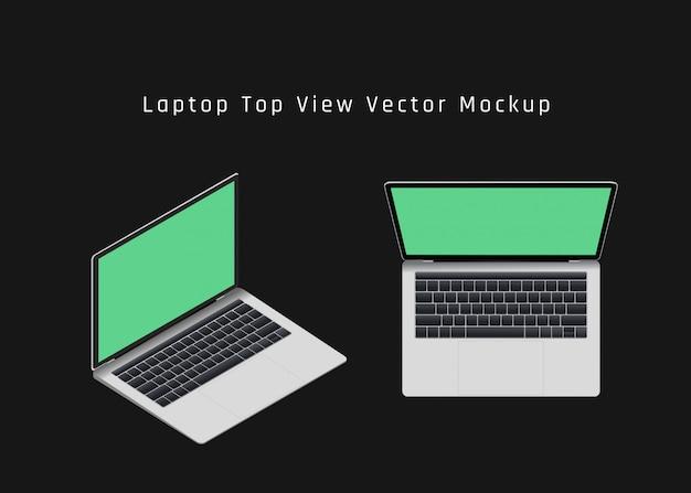 Widok Z Góry Makieta Laptopa Premium Wektorów