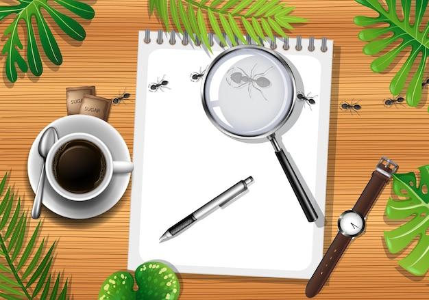 Widok Z Góry Na Drewniany Stół Z Elementami Biurowymi I Liśćmi Premium Wektorów