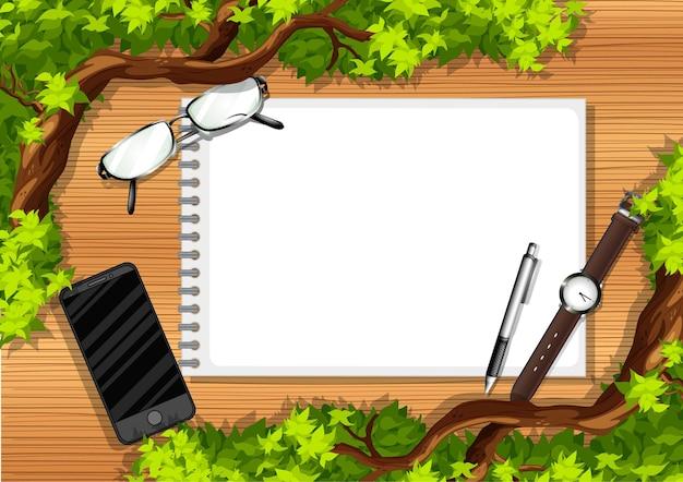 Widok Z Góry Na Drewniany Stół Z Elementami Biurowymi I Liśćmi Darmowych Wektorów