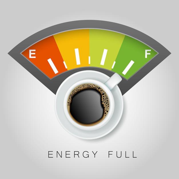 Widok z góry na filiżankę kawy i pełną energię Premium Wektorów