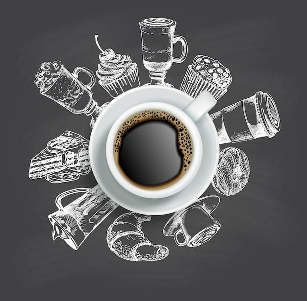 Widok z góry na filiżankę kawy ze szkicowymi słodyczami wokół niej Premium Wektorów