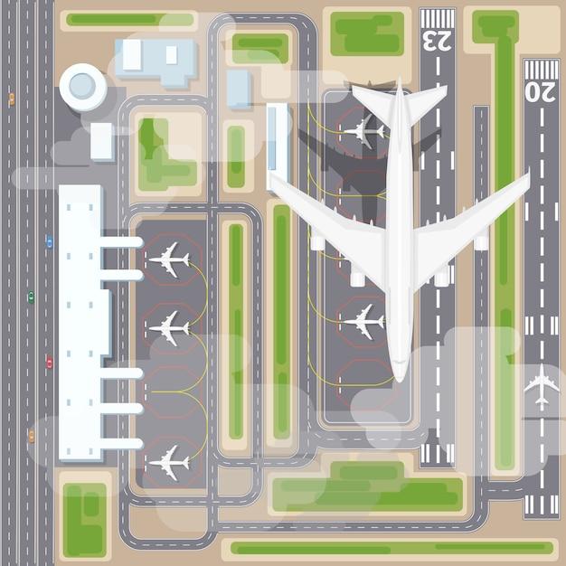 Widok Z Góry Na Lądowiska Na Lotnisku. Samoloty I Samoloty, Przyloty, Linie Lotnicze Transportowe. Ilustracja Wektorowa Lądowania Na Lotnisku Darmowych Wektorów