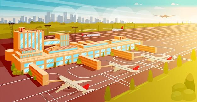 Widok z góry na lotnisko i pas startowy płaski ilustracja. Premium Wektorów