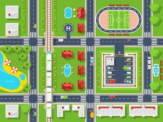 Widok z góry na mapę miasta Darmowych Wektorów