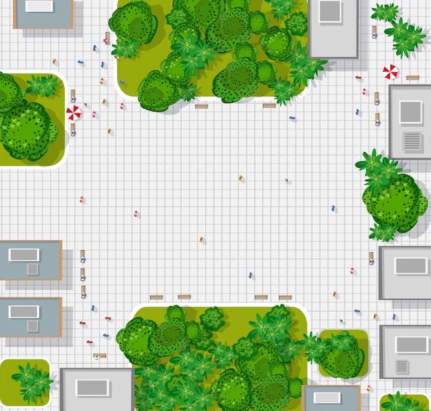 Widok Z Góry Na Miasto. Mapa Miasta W Tle Premium Wektorów