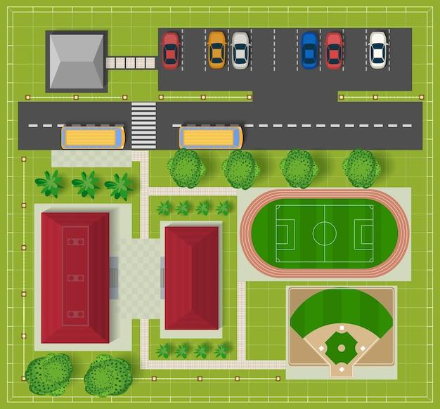 Widok z góry na miasto z budynków szkolnych Premium Wektorów
