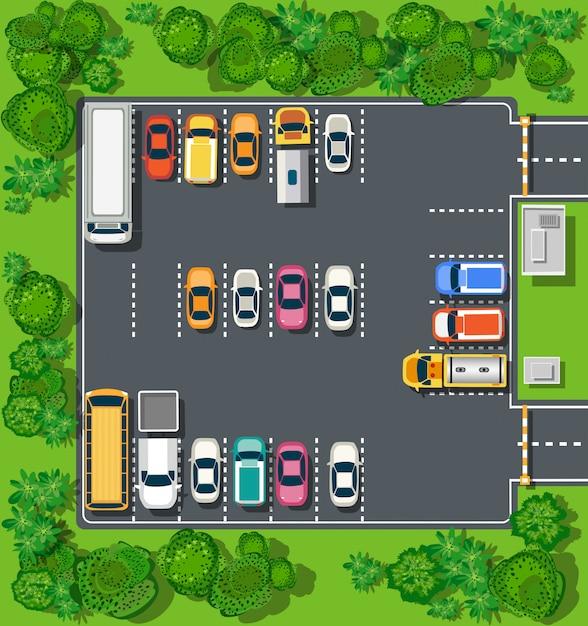Widok Z Góry Na Miasto Z Ulic, Dróg, Domów I Samochodów Premium Wektorów