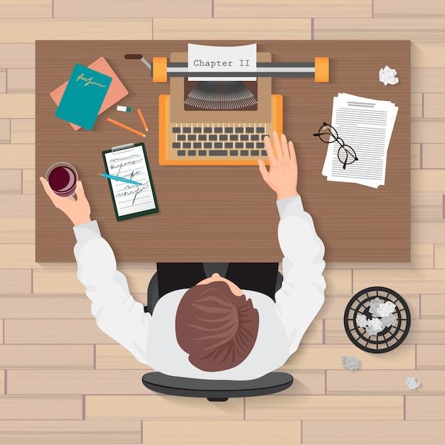Widok z góry na miejsce pracy pisarza Premium Wektorów