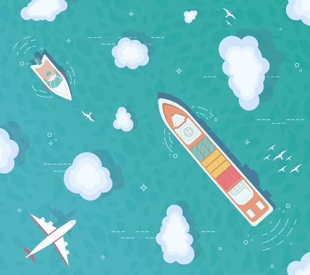 Widok Z Góry Na Ocean. Kontenerowiec, Statek Towarowy, Jacht, łódź Na środku Oceanu. Premium Wektorów