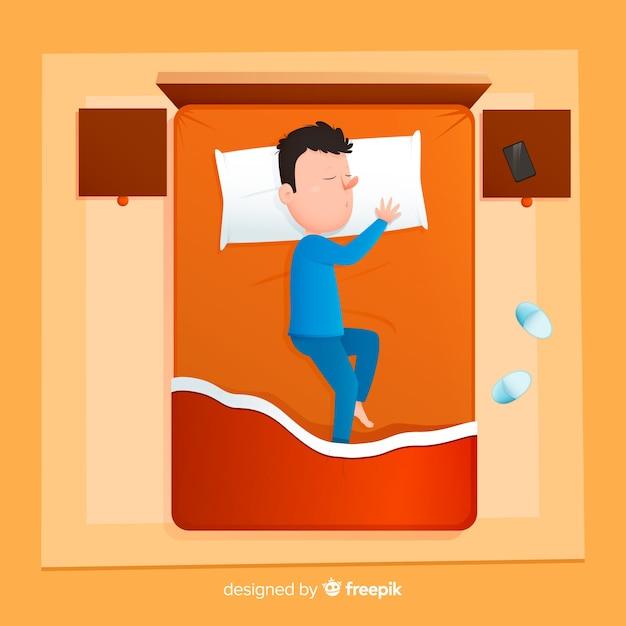 Widok z góry na osobę śpiącą w łóżku Darmowych Wektorów