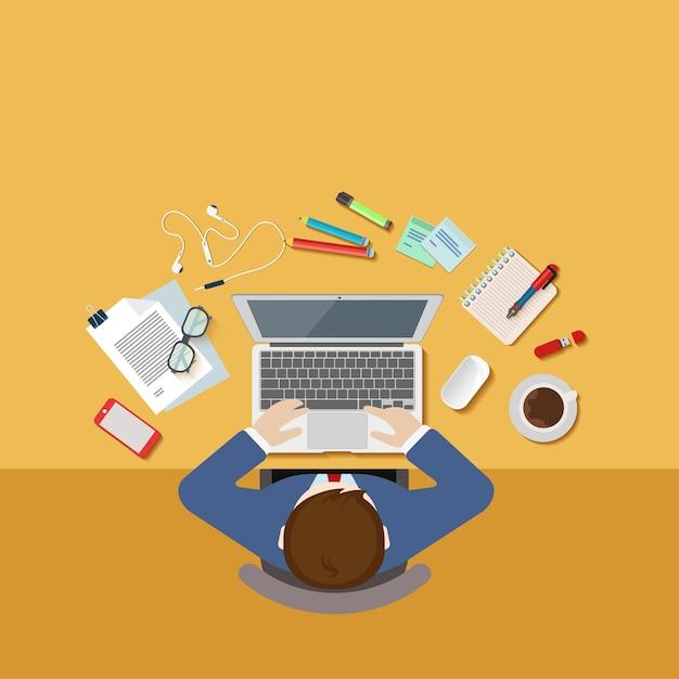 Widok Z Góry Powyżej Biznesmena Office 3desk Koncepcja Miejsca Pracy Płaskie 3d Web Darmowych Wektorów