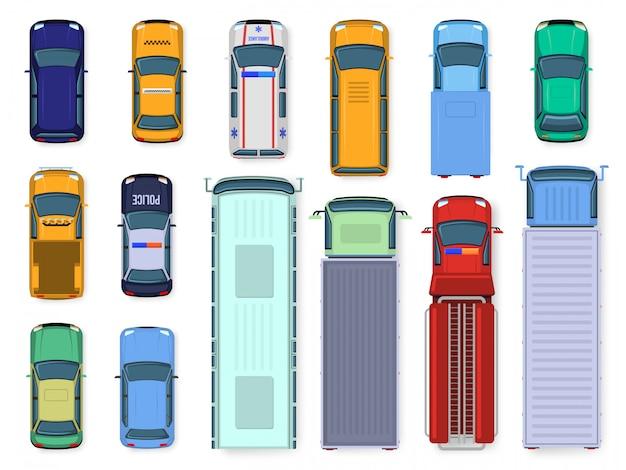 Widok Z Góry Samochodu. Oglądanie Dachu Silnika Pojazdu Ulicznego, Samochody Drogowe, Autobus Miejski, Karetka Pogotowia I Ciężarówka, Zestaw Ilustracji Transportu Publicznego I Cywilnego. Pokoloruj Różne Pojazdy Z Góry Premium Wektorów
