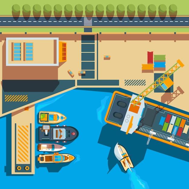 Widok Z Góry Statku. Nadmorskie łódki ładunkowe Mapa Stoczni Powyżej Ilustracji Statku Premium Wektorów