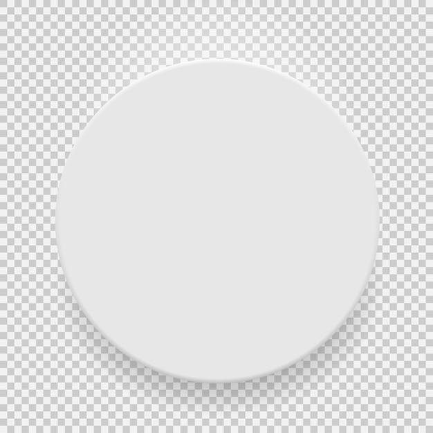 Widok z góry szablon biały pusty model z cieniem na przezroczystym tle. Premium Wektorów
