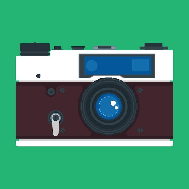 Widok Z Przodu Aparatu Obiektyw Cyfrowy Sprzęt Fotograficzny. Symbol Ostrości Ikony. Profesjonalny Gadżet Reportera Płaskiego Urządzenia Vintage Szczegółowe Zdjęcie Premium Wektorów