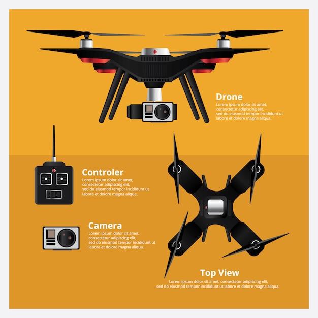 Widok z przodu i od góry drone Premium Wektorów