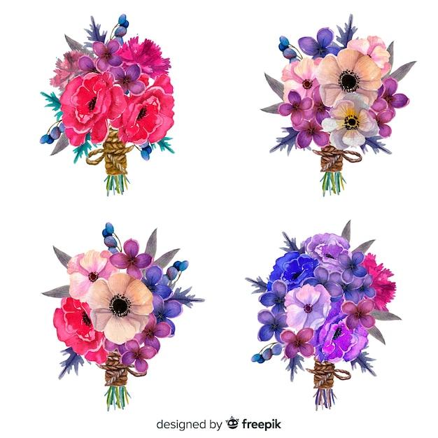 Widok Z Przodu Kolekcja Bukiet Kwiatów Tropikalnych Darmowych Wektorów