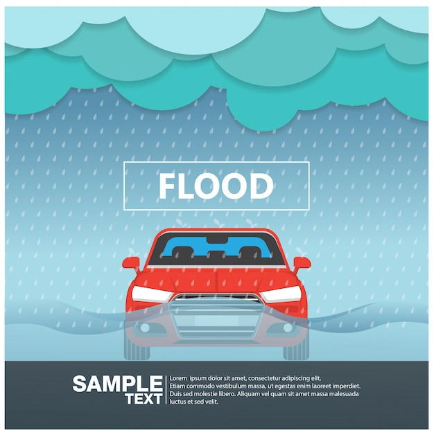 Widok z przodu samochodu w powodzi deszczowej ilustracji wektorowych Premium Wektorów