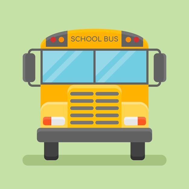 Widok Z Przodu żółty Autobus Szkolny. Płaski Styl. Premium Wektorów
