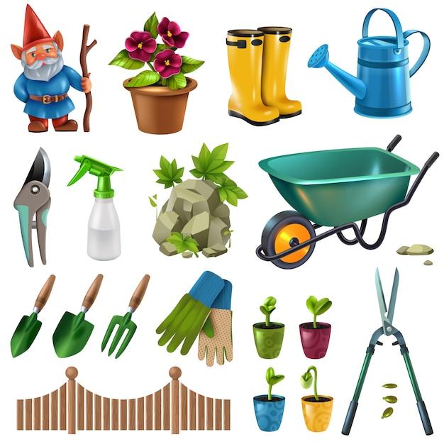 Wiejskie Wiejskie Akcesoria Ogrodowe Elementy Projektu Zestaw Z Nożycami Do żywopłotu Kwiaty Rośliny Sadzonki Taczki Darmowych Wektorów