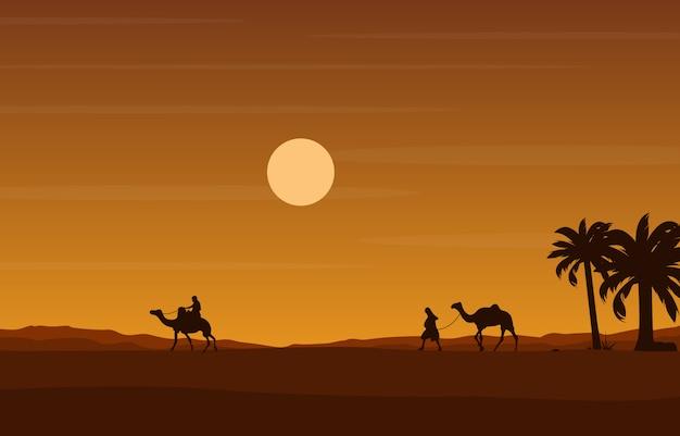 Wielbłąd Jeździec Krzyżuje Ogromną Pustynnego Wzgórza Arabską Krajobrazową Ilustrację Premium Wektorów