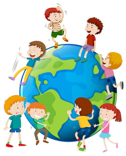 Wiele dzieci otaczają świat Darmowych Wektorów